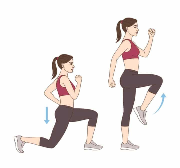 Lunge steps with knee raise